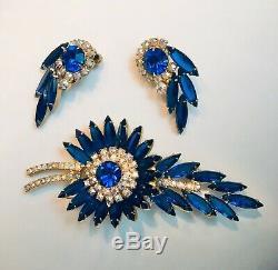 Vtg Juliana D&e Peacock Ab Rhinestone Spray Brooch Pin Earring Set Demi Parure
