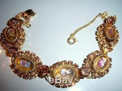 Vtg Juliana D&e Red Silhouette Cameo Rhinestone Bracelet Brooch Earring Set