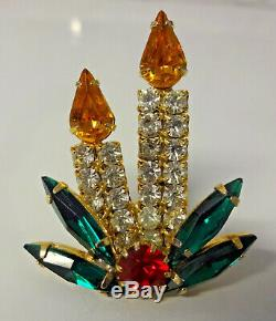 Vtg Juliana Gold Tone Rhinestone Candle Holly Christmas Tree Pin Brooch RARE