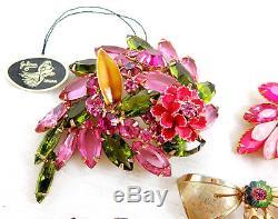 Vtg Juliana Pink Green Blue Rhinestone Flower Enamel Metal Accent Brooch Pin Lot