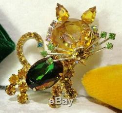 Vtg Juliana (d&e) Honey Topaz/lime/watermelon Rs Kitty Cat Brooch Pin Book Piece