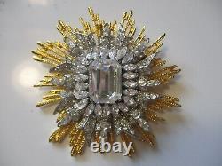 Vtg Kenneth Lane Signed Brooch Large Sunburst Huge Center Rhinestone Gold Toned