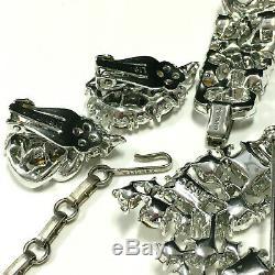 Vtg LISNER Rhinestone Necklace Bracelet Brooch Earring Parure SET Mint! AA108z