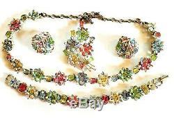 Vtg Lisner Pastel Rhinestone GRAND PARURE Necklace Bracelet Earrings Brooch