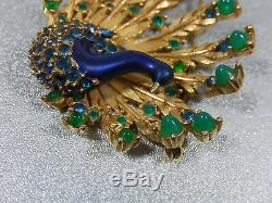 Vtg Marcel Boucher Signed And Numbered Peacock Gp Rhinestone Brooch Pin