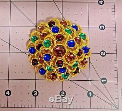 Vtg Monet Mogul Gripoix Multicolor Cabochon Rhinestone Massive Pin Brooch RARE