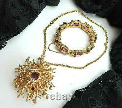 Vtg PANETTA Signed Purple Glass Rhinestone Pendant Necklace Brooch Bracelet SET