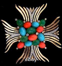 Vtg Philippe TRIFARI Jewels of India Rhinestone Maltese Cross Figural Pin Brooch