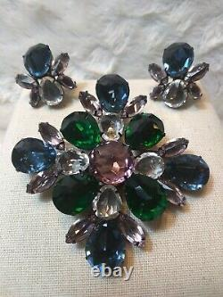 Vtg RARE Schreiner New York Rhinestone Pin Brooch Earrings Set Stunning Massive