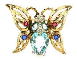 Vtg REJA Vermeil Sterling Aqua Glass Rhinestone BUTTERFLY Figural Brooch Pin
