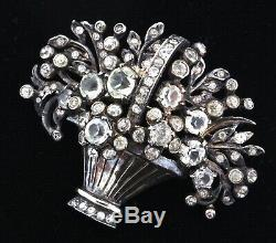 Vtg Ralph DEROSA Sterling Rhinestone Flower Basket Figural Pin Brooch