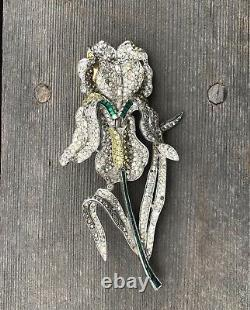 Vtg Rare Crown Alfred Philippe Trifari Iris Orchid Flower Rhinestone Brooch Pin