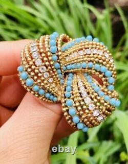 Vtg Rare Stunning Marcel Boucher Turquoise & Crystals Rhinestones Pin Brooch
