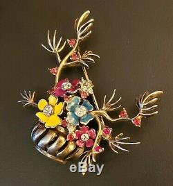 Vtg Reja Sterling Vermeil Enamel Rhinestone Gardenesque Flower Vase Brooch Pin