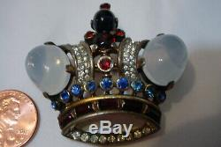 Vtg. Rhinestone Brooch Jelly Belly Signed Crown Trifari Sterling Silver Alfred P