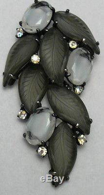 Vtg Schiaparelli Set Givre Rhinestones & Leaf Molded Stone Necklace & Brooch