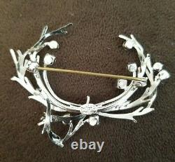 Vtg Signed 1969 Christian Dior Germany Branches Wreath Rhinestone Brooch Rare
