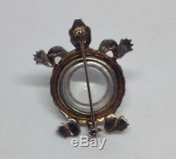 Vtg TRIFARI Jelly Belly Rhinestone Sterling TURTLE Figural Brooch Pin