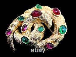 Vtg TRIFARI Jewels of India Moghul Knot Swirl Emerald Ruby Cabochon Brooch Pin