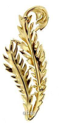 Vtg TRIFARI Large Double Feather Leaf Figural Rhinestone Brooch Pin