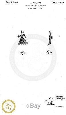 Vtg TRIFARI Sapphire Rag Doll Figural Nenette & Rintintin Sterling Brooches Pins