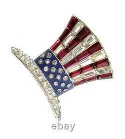 Vtg TRIFARI WW2 Patriotic Uncle Sam Top Hat Figural Rhinestone Enamel Brooch Pin