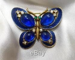 Vtg Trifari L'orient Royal Blue Enamel Cabochons & Rhinestones Butterfly Brooch