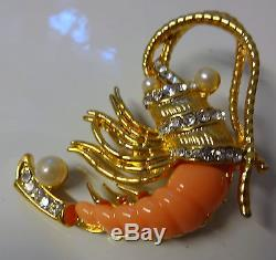 Vtg Unsigned Hattie Carnegie Rhinestone Shrimp Crawfish Crustacean Pin Brooch