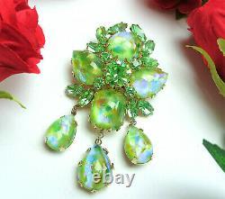 Vtg VENDOME Signed IRIDESCENT Green Art Glass Dangle Brooch Pin Schreiner Style