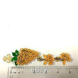 Vtg Vendome MOD 60's Orange Enamel & Rhinestone FLOWER Brooch Earring SET RR20s