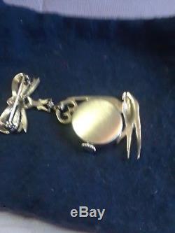 Vtg Watch Clock Pin Brooch Sterling silver Rhinestones Jewelled Ladies