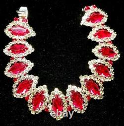 Vtg Weiss Parure Ruby Red/Smoke Rhinestones Silver-tone Bracelet Brooch Earring