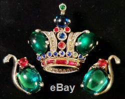 Vtg d- Parure TRIFARI A. PHILIPPE GOLD-Plate Sterling CROWN BROOCH & EARRING SET