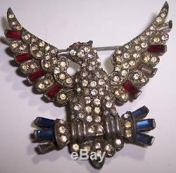 WWI US American Army Eagle Insignia Rhinestone Antique Vintage Pin Brooch b3