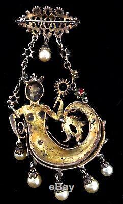 X-Rare Vtg DEROSA Sterling Dangling MERMAID Figural Rhinestone Enamel Brooch Pin