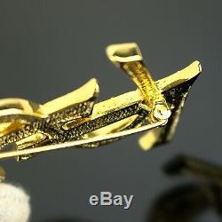 YVES SAINT LAURENT Vintage YSL Logos Rhinestone Pin Brooch Gold color